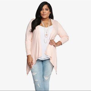 Torrid Drape Open Front Cardigan Soft Pink 4 4x